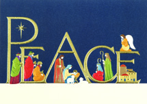Peace With Nativity Religious Christmas Cards