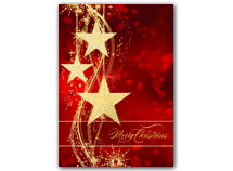 Golden Stars Merry Christmas Cards